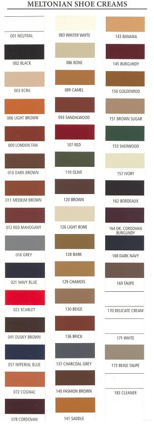 meltonian Shoe Cream Color Chart